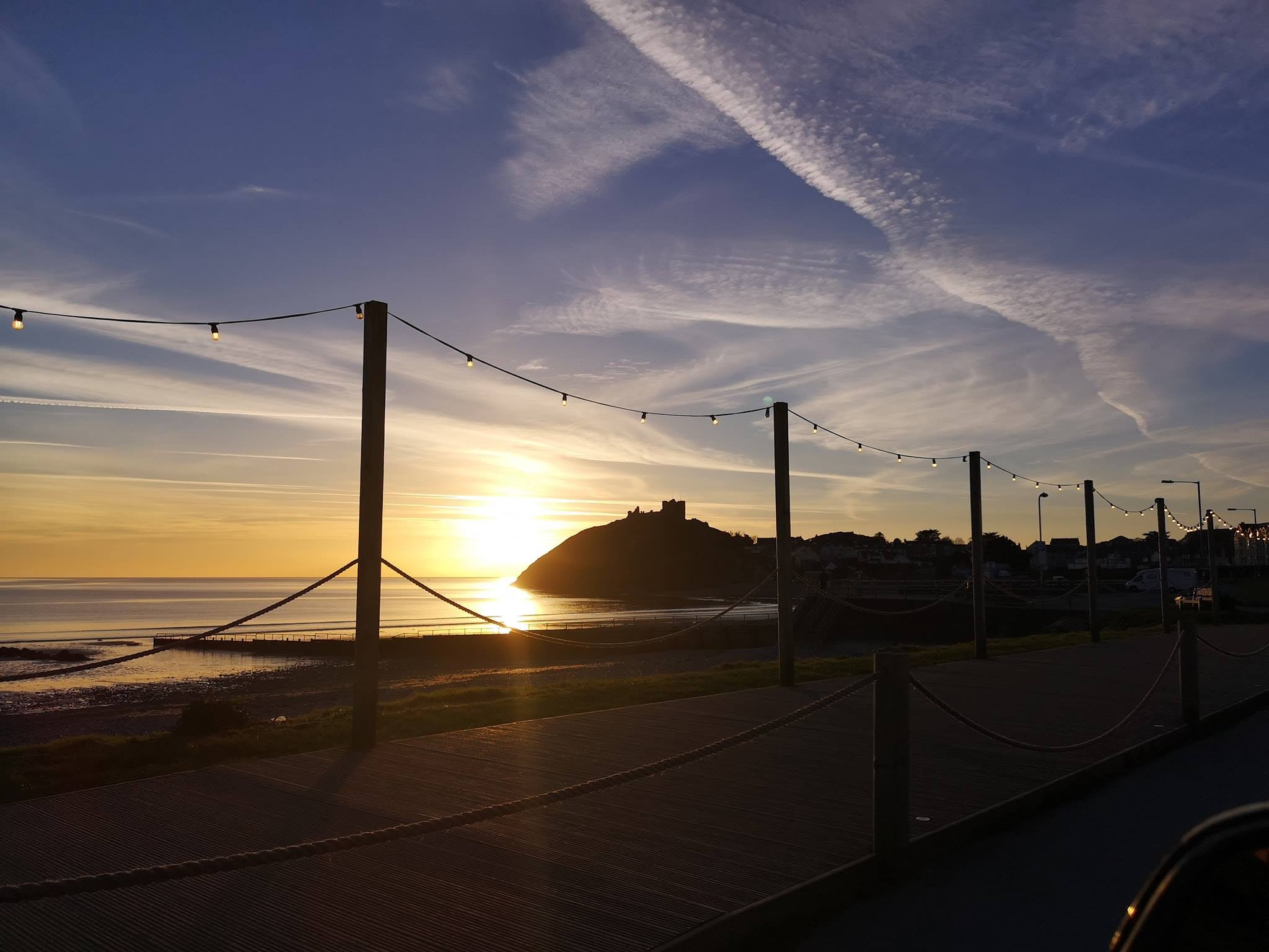 View of Criccieth Beach at Sunset, The Caerwylan, Criccieth, North Wales